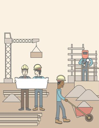 building site: Two men considering building project while other builders work at the building site. Vector line design illustration. Vertical layout with a text space. Illustration