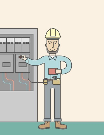 power distribution: A caucasian hipster electrician with beard measuring the voltage output on an industrial power distribution center. Vector line design illustration. Vertical layout with a text space.
