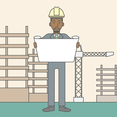 building site: A happy african-american engineer holding blueprint on a construction site. Vector line design illustration. Square layout.