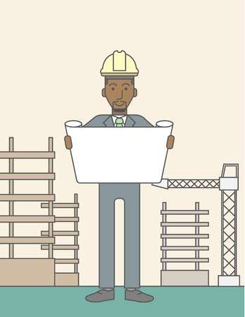 construction draftsman: A happy african-american engineer holding blueprint on a construction site. Vector line design illustration. Vertical layout with a text space.