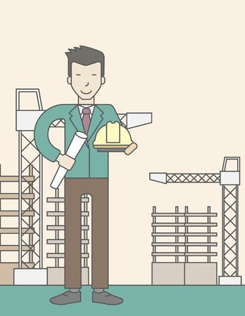building inspector: A happy asian engineer holding a hard hat and twisted blueprint on a construction site. Vector line design illustration. Vertical layout with a text space.