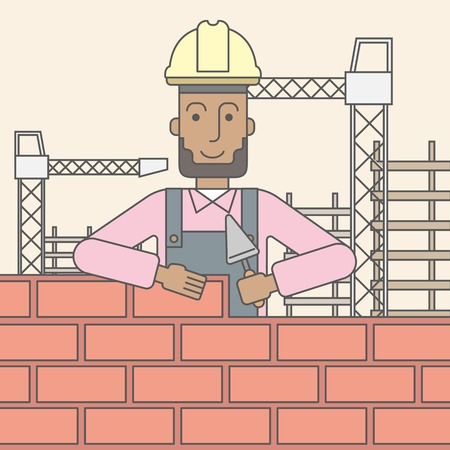 hard hat: A smiling black builder wearing a hard hat building a brick wall. Vector line design illustration. Square layout.
