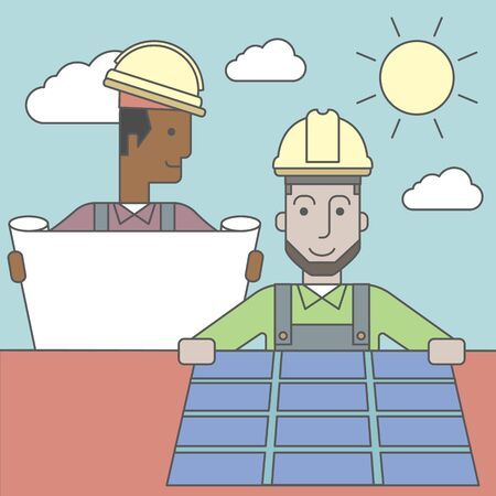 setup man: An african-american engineer holding blueprints standing near caucasian worker setting up solar panel. Vector line design illustration. Square layout.