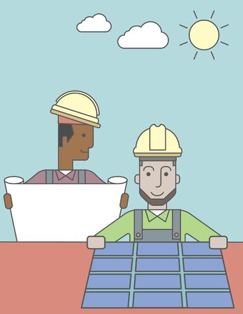 setup man: An african-american engineer holding blueprints standing near caucasian worker setting up solar panel. Vector line design illustration. Vertical layout with a text space. Illustration