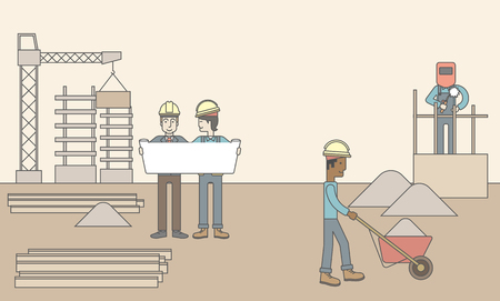 other space: Two men considering building project while other builders work at the building site. Vector line design illustration. Horizontal layout with a text space.
