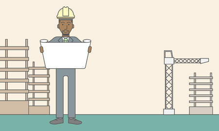 draftsman: A happy african-american engineer holding blueprint on a construction site. Vector line design illustration. Horizontal layout with a text space. Illustration