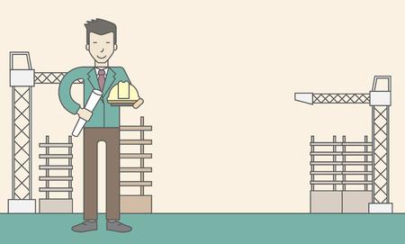 Eine glückliche asiatische Ingenieur hält einen harten Hut und Twisted-Blaupause auf einer Baustelle. Vector Leitung, Design, Illustration. Horizontal-Layout mit einem Text-Raum. Standard-Bild - 45802784