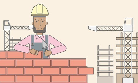 brick and mortar: A smiling black builder wearing a hard hat building a brick wall. Vector line design illustration. Horizontal layout with a text space.