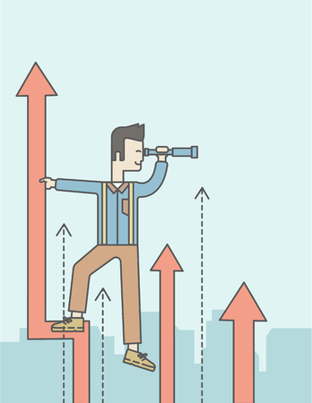 asian businessman: An asian businessman standing on the top of graph arrow looking through telescope. Business development concept.  Vector line design illustration. Vertical layout with a text space. Illustration
