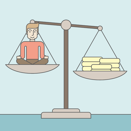 heaps: A caucasian businessman sitting on a scale with heaps of gold coins. Vector line design illustration. Square layout.