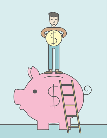 savings account: A happy asian man saving his money by putting a coin in a big piggy bank using a ladder. Saving concept. Vector line design illustration. Vertical layout with a text space.