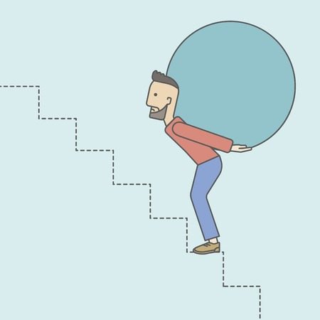 uphill: A tired caucasian hipster businessman with beard carrying a big ball going up to reach the goal. Vector line design illustration. Square layout.