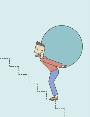 uphill: A tired caucasian hipster businessman with beard in carrying a big ball going up to reach the goal. Vector line design illustration. Vertical layout with a text space. Illustration