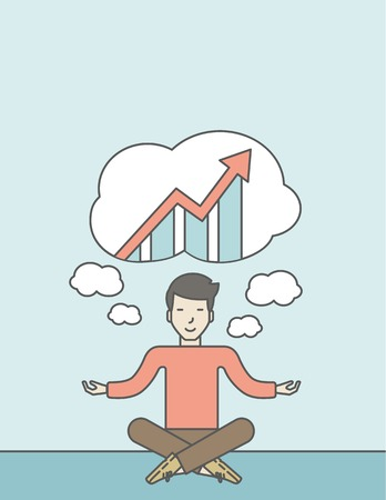 man meditating: Cheerful asian businessman sitting on the floor and thinking about the growth graph. Successful business concept. Vector line design illustration. Vertical layout with a text space. Illustration