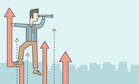 asian businessman: An asian businessman standing on the top of graph arrow looking through telescope. Business development concept.  Vector line design illustration. Horizontal layout with a text space.