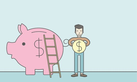 collect: A happy asian man saving his money by putting a coin in a big piggy bank using a ladder. Saving concept. Vector line design illustration. Horizontal layout with a text space. Illustration