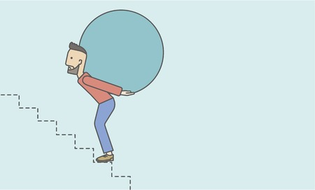 uphill: A tired caucasian hipster businessman with beard in carrying a big ball going up to reach the goal. Vector line design illustration. Horizontal layout with a text space.