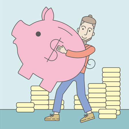 savings account: A caucasian hipster man with beard holding a piggy bank. Vector line design illustration. Square layout. Illustration