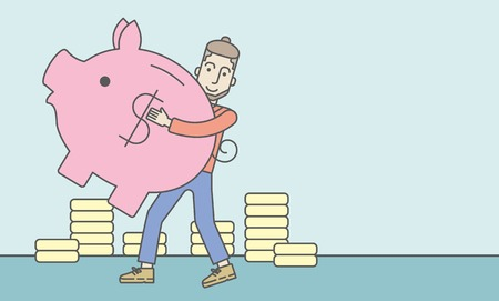 A caucasian hipster man with beard holding a piggy bank. Vector line design illustration. Horizontal layout with a text space. Illustration