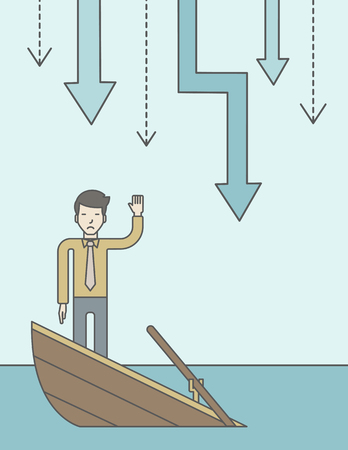 unstable: A scared asian businessman standing on a sinking boat asking for help with arrows pointing down behind his back. Bankruptcy concept. Vector line design illustration. Vertical layout with a text space.