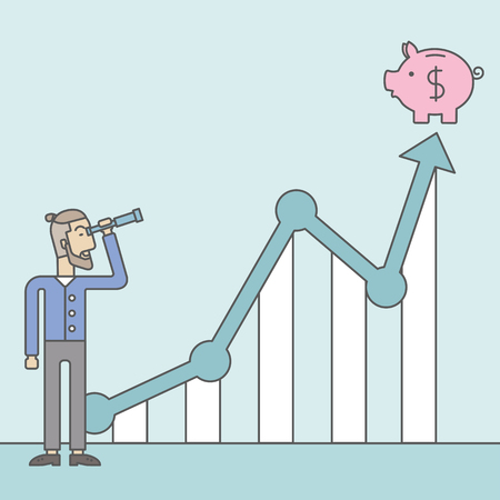 standing in line: A caucasian hipster man with beard looking through telescope at piggy bank standing at the top of growth graph. Growing business concept.  Vector line design illustration. Square layout.