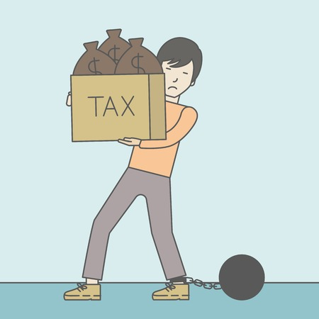 stress ball: Chained to a large ball asian businessman carrying heavy box with bags full of taxes. Vector line design illustration. Square layout. Illustration