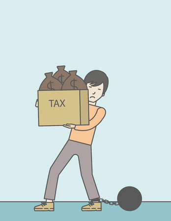 Chained to a large ball asian businessman carrying heavy box with bags full of taxes. Vector line design illustration. Vertical layout with a text space. Ilustração