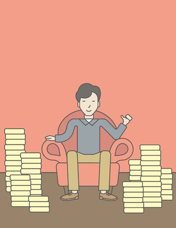 A successful asian businessman sitting in armchair with stacks of coins. Achievement concept. Vector line design illustration. Vertical layout with a text space.