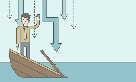 asian businessman: A scared asian businessman standing on a sinking boat asking for help with arrows pointing down behind his back. Bankruptcy concept. Vector line design illustration. Horizontal layout with a text space. Illustration
