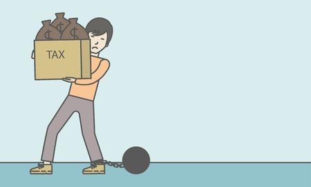 carrying box: Encadenado a una gran bola de negocios asi�tico llevando pesada caja con bolsas llenas de impuestos. L�nea de la ilustraci�n del vector de dise�o. Dise�o horizontal con un espacio de texto. Vectores
