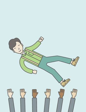 hands lifted up: An asian businessman get thrown into the air by coworkers during celebration. Successful business concept. Vector line design illustration. Vertical layout with a text space.