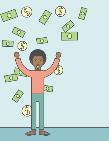 standing in line: A successful african-american entrepreneur standing under  flying money. Successful business concept. Vector line design illustration. Vertical layout with a text space.