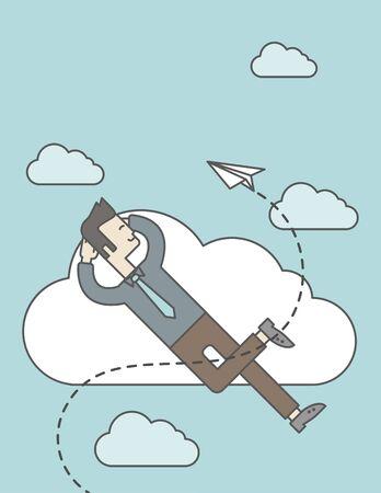 mosca caricatura: Un hombre asi�tico es relajante mientras est� acostado en una nube con avi�n de papel. L�nea de la ilustraci�n del vector de dise�o. Dise�o vertical con un espacio de texto.