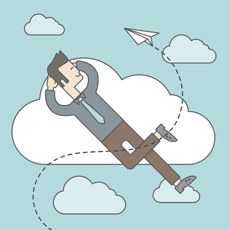 paper airplane: An asian man is relaxing while lying on a cloud with paper plane. Vector line design illustration. Square layout. Illustration