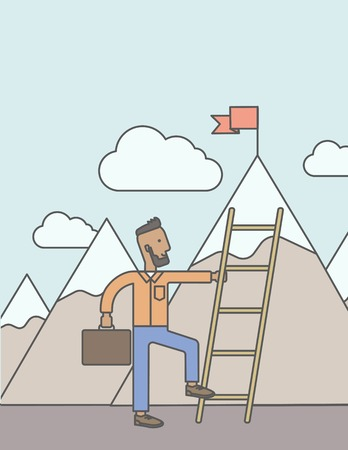 business opportunity: An african man standing and holding the ladder to get the red flag on the top of mountain. Success career concept. Vector line design illustration. Vertical layout with a text space.