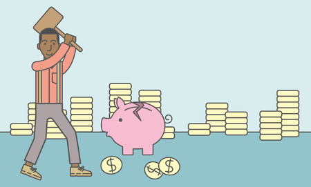 bankruptcy: An african-american businessman standing while holding a hammer breaking piggy bank. Bankruptcy concept. Vector line design illustration. Horizontal layout with a text space.