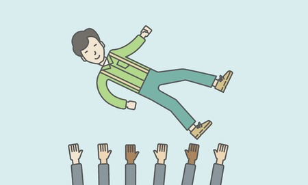 hands lifted up: An asian businessman get thrown into the air by coworkers during celebration. Successful business concept. Vector line design illustration. Horizontal layout with a text space.