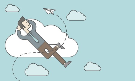 throwing paper: An asian man is relaxing while lying on a cloud with paper plane. Vector line design illustration. Horizontal layout with a text space.