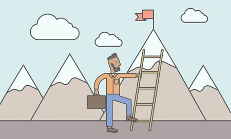standing in line: An african man standing and holding the ladder to get the red flag on the top of mountain. Success career concept. Vector line design illustration. Horizontal layout with a text space.