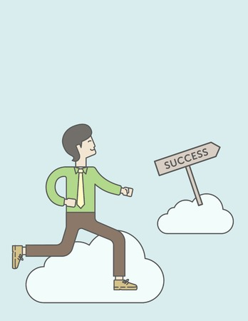 asian manager: An asian businessman in the sky moving to success. Successful business concept. Vector line design illustration. Vertical layout with a text space.