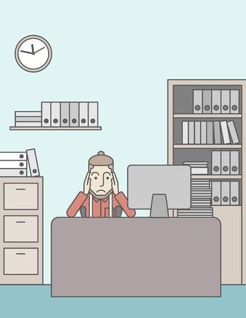 Tired caucasian employee with beard sitting at the table in office. Vector line design illustration. Vertical layout with a text space.