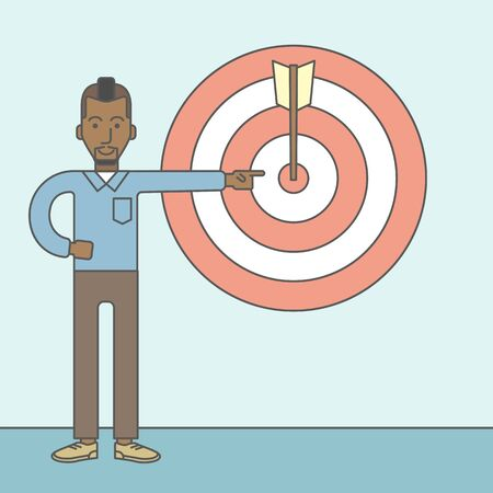 standing in line: An african businessman standing and pointing at a target board with arrow. Vector line design illustration. Square layout. Illustration