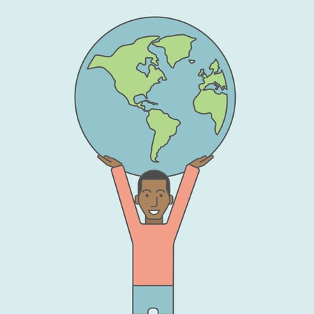 businessman carrying a globe: An african businessman carrying big globe. Vector line design illustration. Square layout.