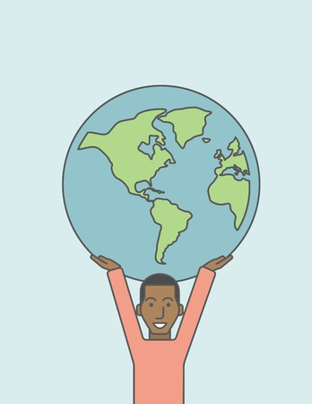 businessman carrying a globe: An african businessman carrying big globe. Vector line design illustration. Vertical layout with a text space.