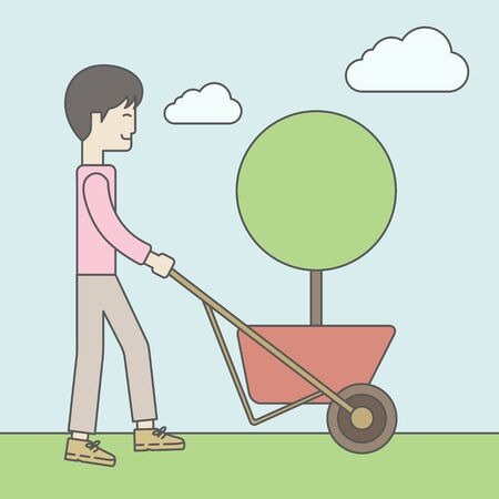 going green: An asian businessman pushing the cart with green tree. Business growth concept. Vector line design illustration. Square layout. Illustration