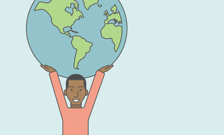 businessman carrying a globe: An african businessman carrying big globe. Vector line design illustration. Horizontal layout with a text space. Illustration