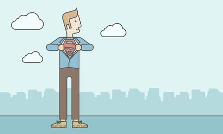 Kaukasischen Geschäftsmann Eröffnung Shirt in Superhelden-Stil. Vector Leitung, Design, Illustration. Horizontal-Layout mit einem Text-Raum. Standard-Bild - 45883685