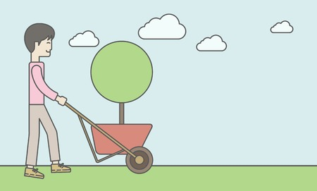 going green: An asian businessman pushing the cart with green tree. Business growth concept. Vector line design illustration. Horizontal layout with a text space. Illustration