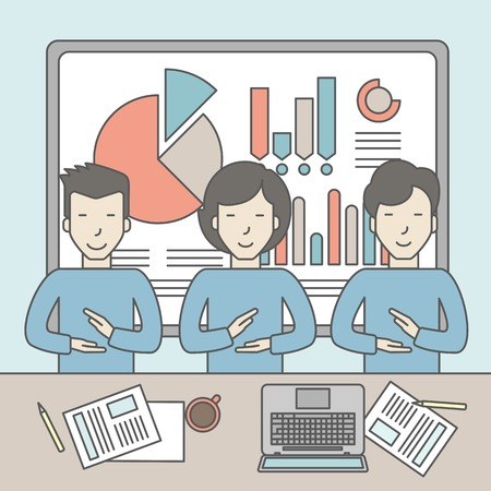 business meeting asian: Business people sitting at the office with graphs on the whiteboard behind them. Reporting concept. Vector line design illustration. Square layout.