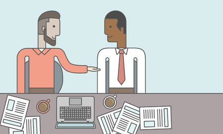Two businessmen sitting while talking in front of laptop and documents. Business partnership concept. Vector line design illustration. Horizontal layout with a text space. Ilustrace